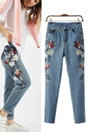 Autumn Style Floral Embroidered Denims For Girls