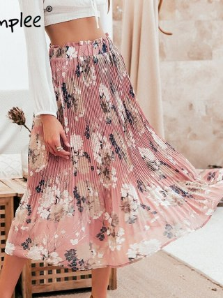 Bohemian ruffled excessive waist chiffon girls lengthy skirt