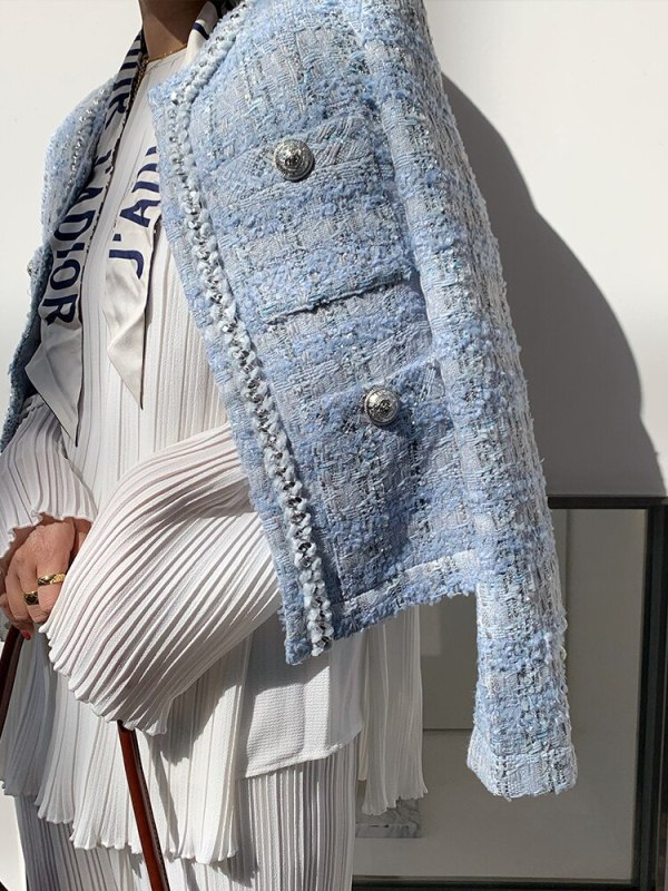 Tweed Trend Koreans Girls Coat Classic O-Neck