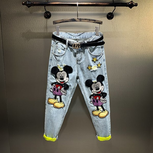 Mickey Mouse Ankle-length Lengthy Denims for Ladies