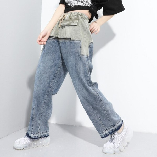 Lady Elastic Waist Push Up Ripped Denim