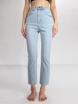 Blue Tassel Gentle Materials Snug Excessive Waist Small Straight Denims Ladies