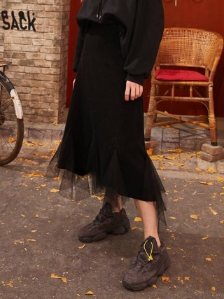 Black Solid Contrast Mesh Casual Women Long Skirts  Spring