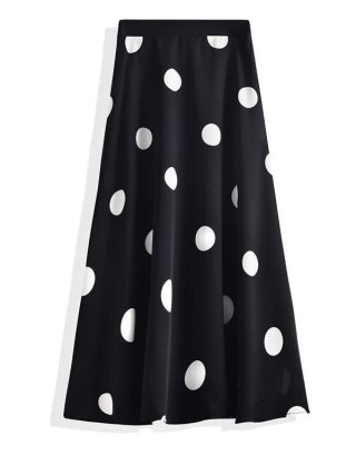 Polka Dot Chiffon A-line Pleated Skirt High