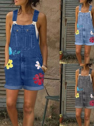 Jumpsuits Girls Summer season Playsuit Denim Romper Overalls