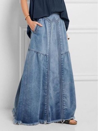 Denim Denims Girls Lengthy Skirt Stretch Classic Unfastened