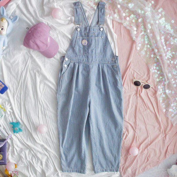 Harajuku Striped Denim Jumpsuit Ladies Romper Teenage