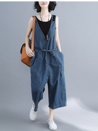 Denim Jumpsuit summer time Women Lengthy Pants rompers