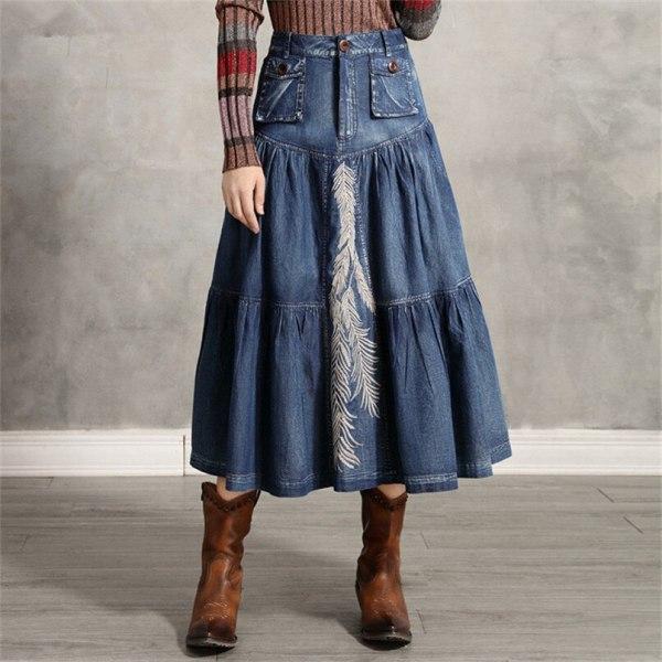 Girls's Denim Skirt Classic Girls A line Embroidery