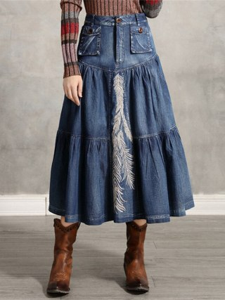 Girls's Denim Skirt Classic Girls A line Embroidery