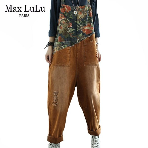 Women Floral Denim Trousers