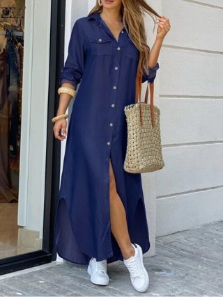 Ladies Lengthy Maxi Gown Informal Strong Buttons
