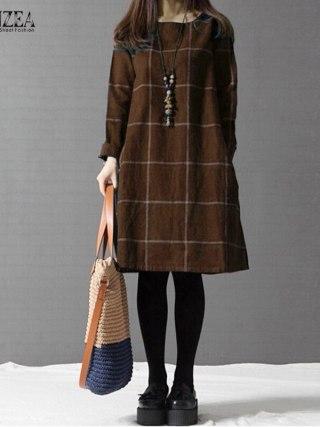 Winter Gown ZANZEA Trend Plaid Girls Lengthy Sleeve Cotton Linen