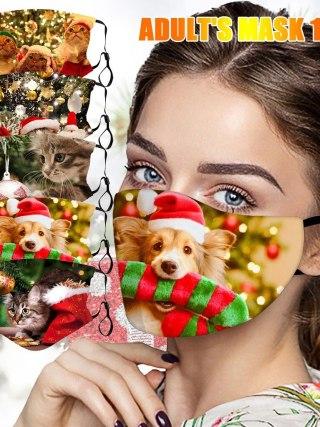 Christmas Face masks pet canine cat print
