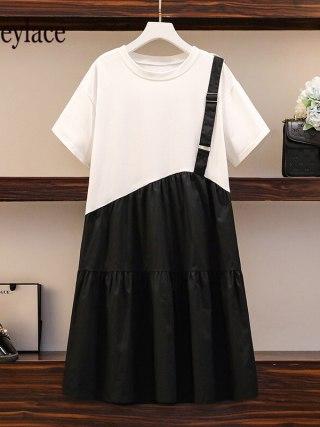Plus Measurement Girls Informal Gown Summer time Korean Vogue
