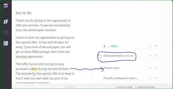 Grammarly works fine with Yahoo Mail. Here, Grammarly detected passive voice, confused words and overused word.
