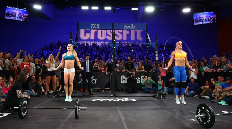 Katrin Davidsdottir and Sara Sigmundsdottir at a 2017 CrossFit Open workout announcement. Courtesy of CrossFit