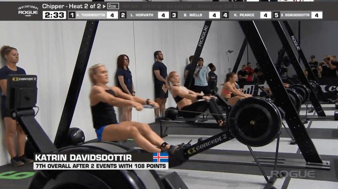 Katrin Davidsdottir working through the rowing portion of the Chipper event at the Rogue Invitational.