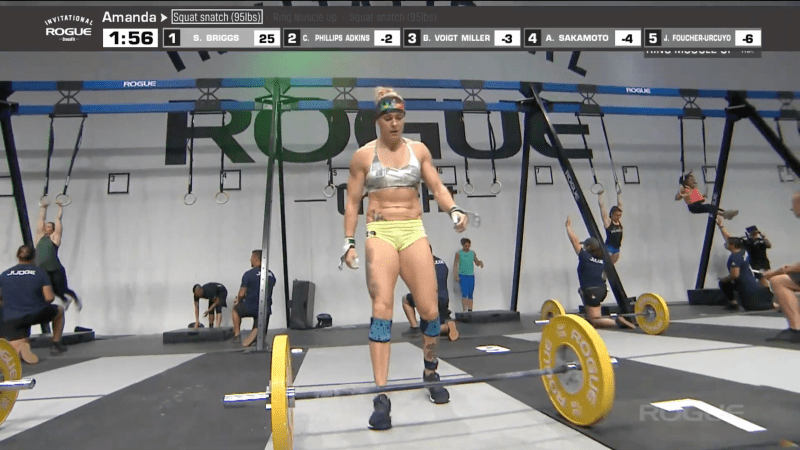 Sam Briggs returns to the bar for her second set of squat snatches at the Rogue Invitational.