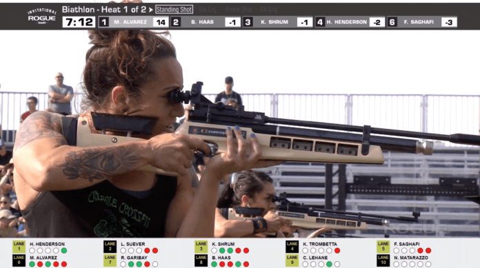 Colleen Lehane shooting from a standing position in her second round of the Rogue Invitational Concept2 Biathlon.