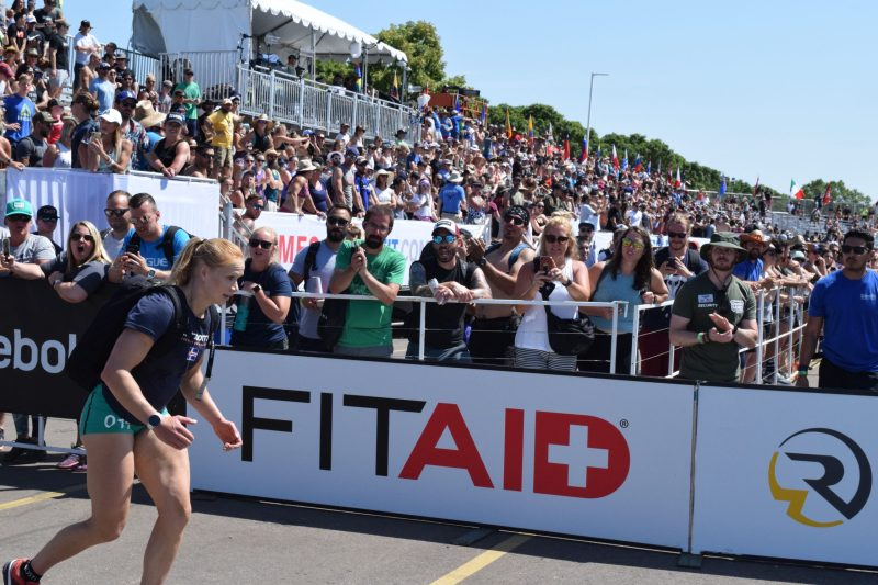 Annie Thorisdottir completes the Ruck Run event at the 2019 CrossFit Games