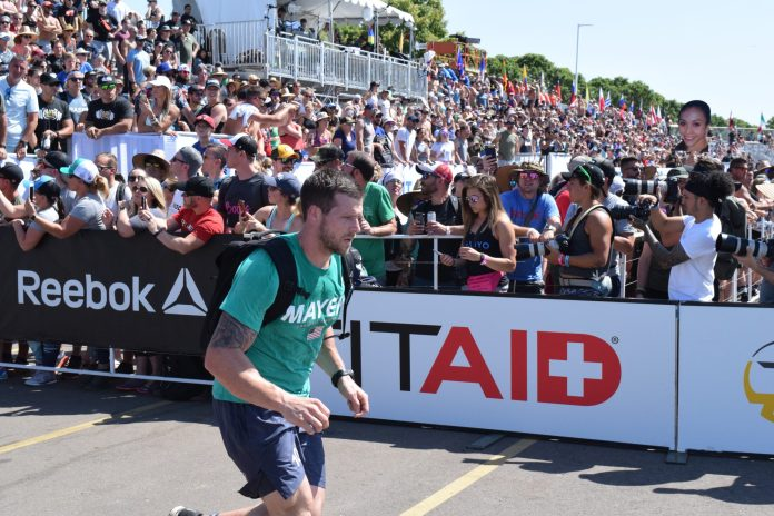 Travis Mayer completes the Ruck Run event at the 2019 CrossFit Games.