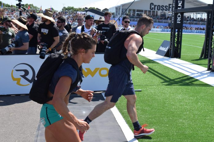 Carrie Beamer completes the Ruck Run event at the 2019 CrossFit Games.
