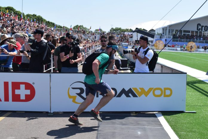 Willy Georges completes the Ruck Run event at the 2019 CrossFit Games.