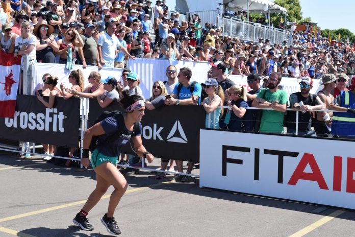 Anna Fragkou completes the Ruck Run event at the 2019 CrossFit Games.