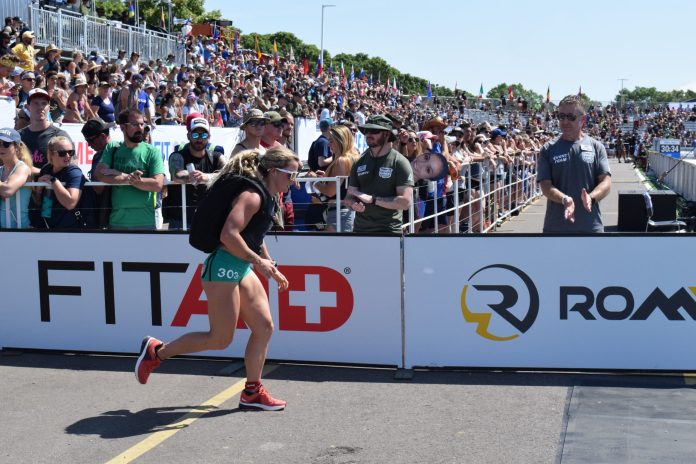 Madeline Sturt completes the Ruck Run event at the 2019 CrossFit Games.