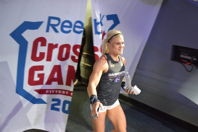 Katrin Davidsdottir enters the competition floor on the final day of the 2019 CrossFit Games.