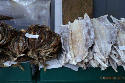 Fisch gesalzen und getrocknet am Fischmarkt in Funcal / Madeira