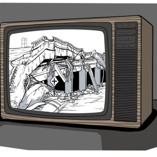 Illustration of a contributor's memory from the 1989 Bay Area earthquake.