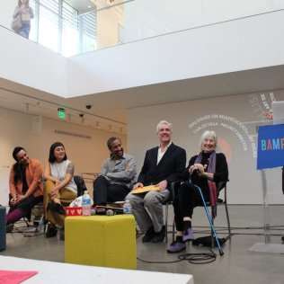 Introducing the Worlds In Collision Then and Now panel (Moira Roth, Mark Dean Johnson, Brett Cook, Thea Quiray Tagle, Kathy Zarur + Jacqueline Francis) (photo: Erina Alejo)