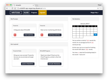 The My 500 (or home dashboard) view – showing outstanding prompts, and a statistics calendar.