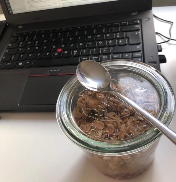 Schoko-Bananen-Porridge mit Granatapfel