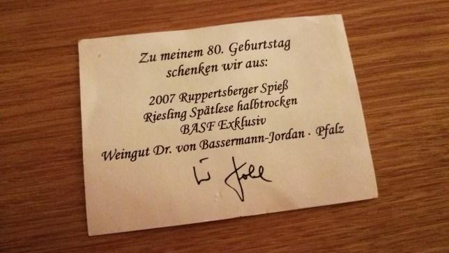 Beim 80. Geburtstag von Helmut Kohl wurde Wein ausgeschenkt