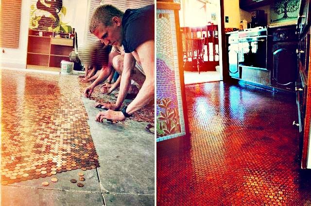 Fußboden Aus 1 Cent Stücken ~ Kupfermünzen für den boden u wohnbu