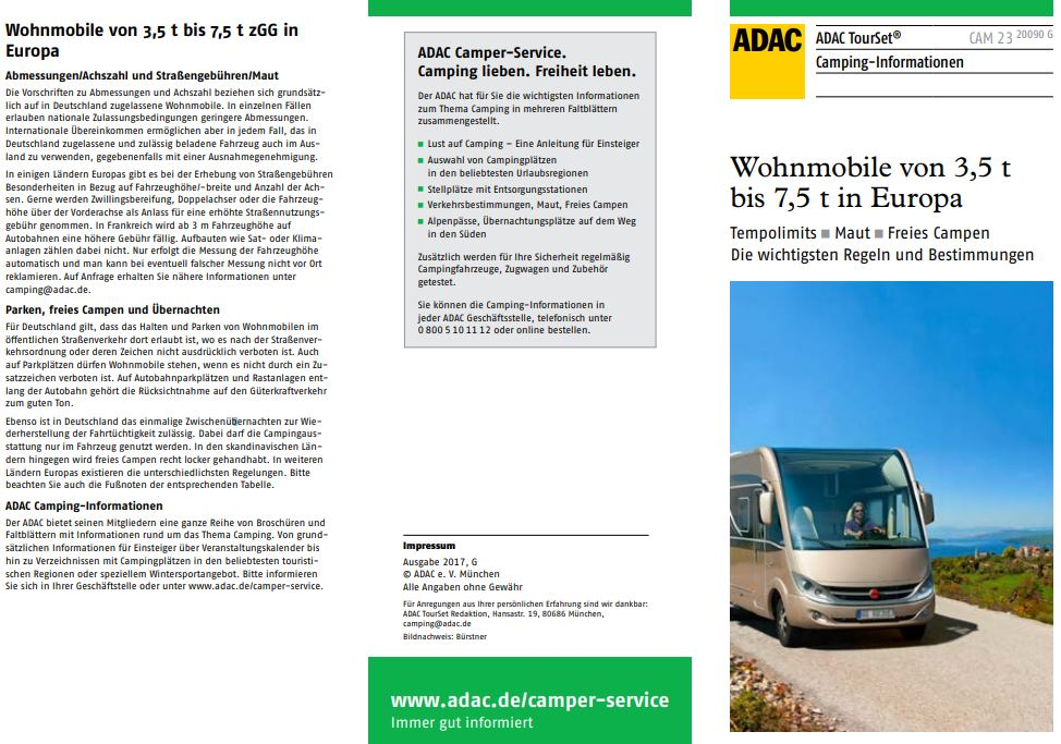Wohnmobile ab 3,5t in Europa Tempolimits Maut freies Campen