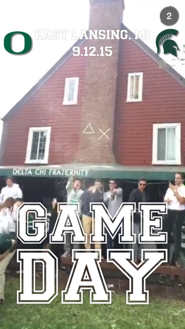 College Football Snapchat Story on September 12th, 2015 ...