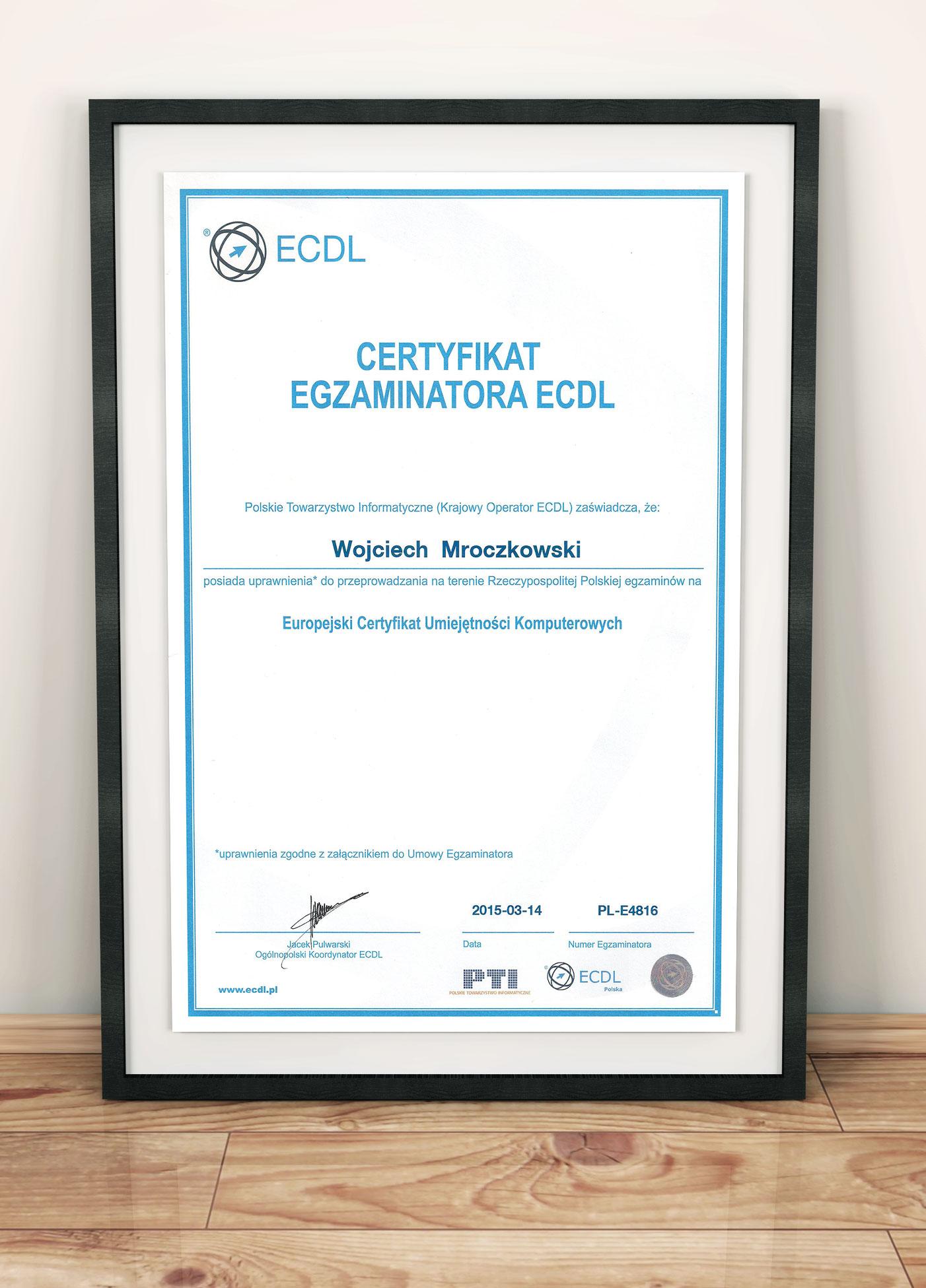 Uprawnienia egzaminatora ECDL z zakresu podstawowego - 14.03.2015