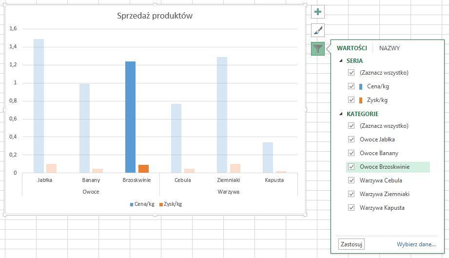 filtrowanie wykresów w Excelu 18