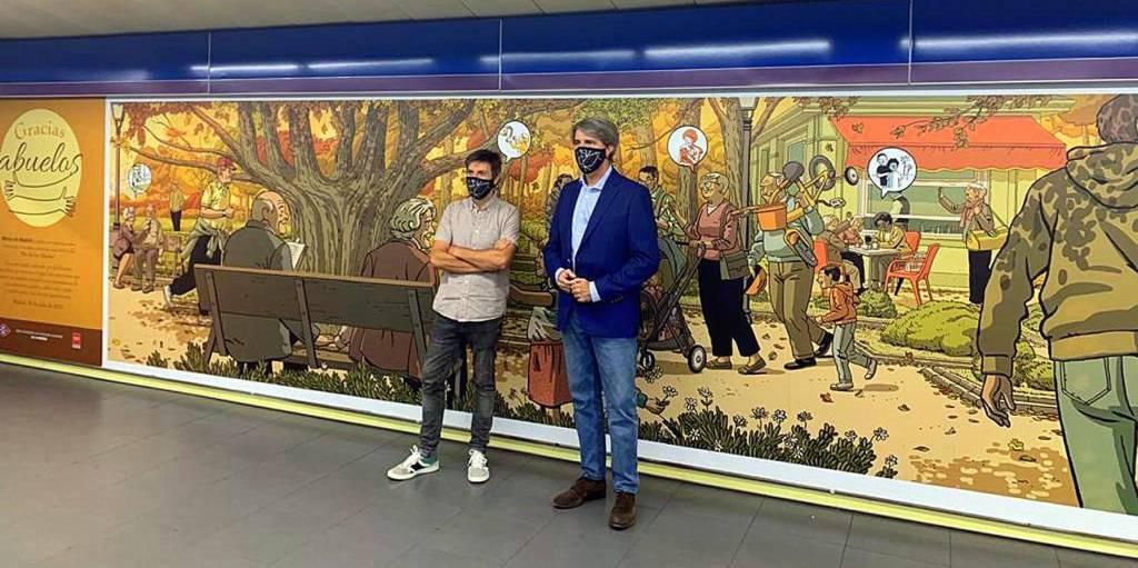 Un mural en el metro de Madrid homenajea a los abuelos y abuelas