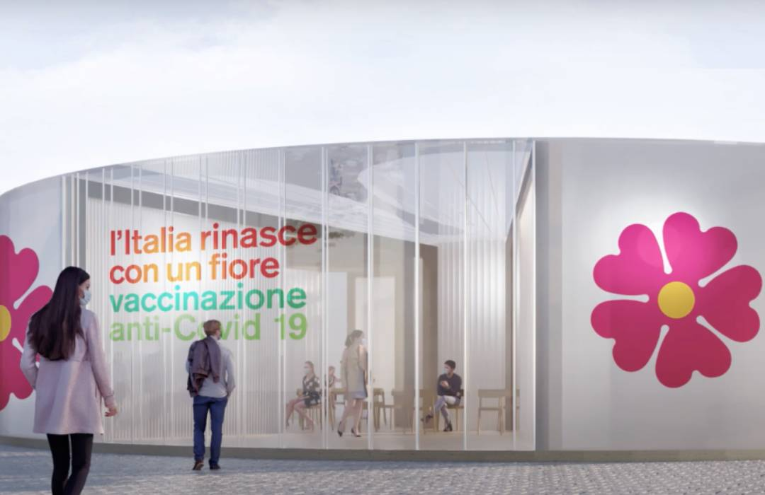 Pabellones en forma de flor en Italia
