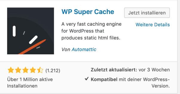 WordPress schneller machen – WP Super Cache
