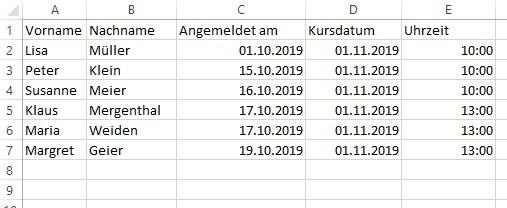 Tabelle mit Serienbrief Funktion in Word füllen und formatieren