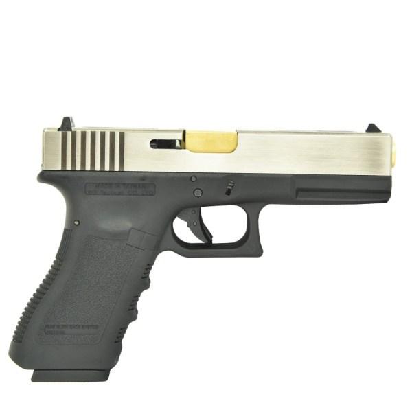 WE Glock 18 Dual Barrel GBB Pistol (Silver)