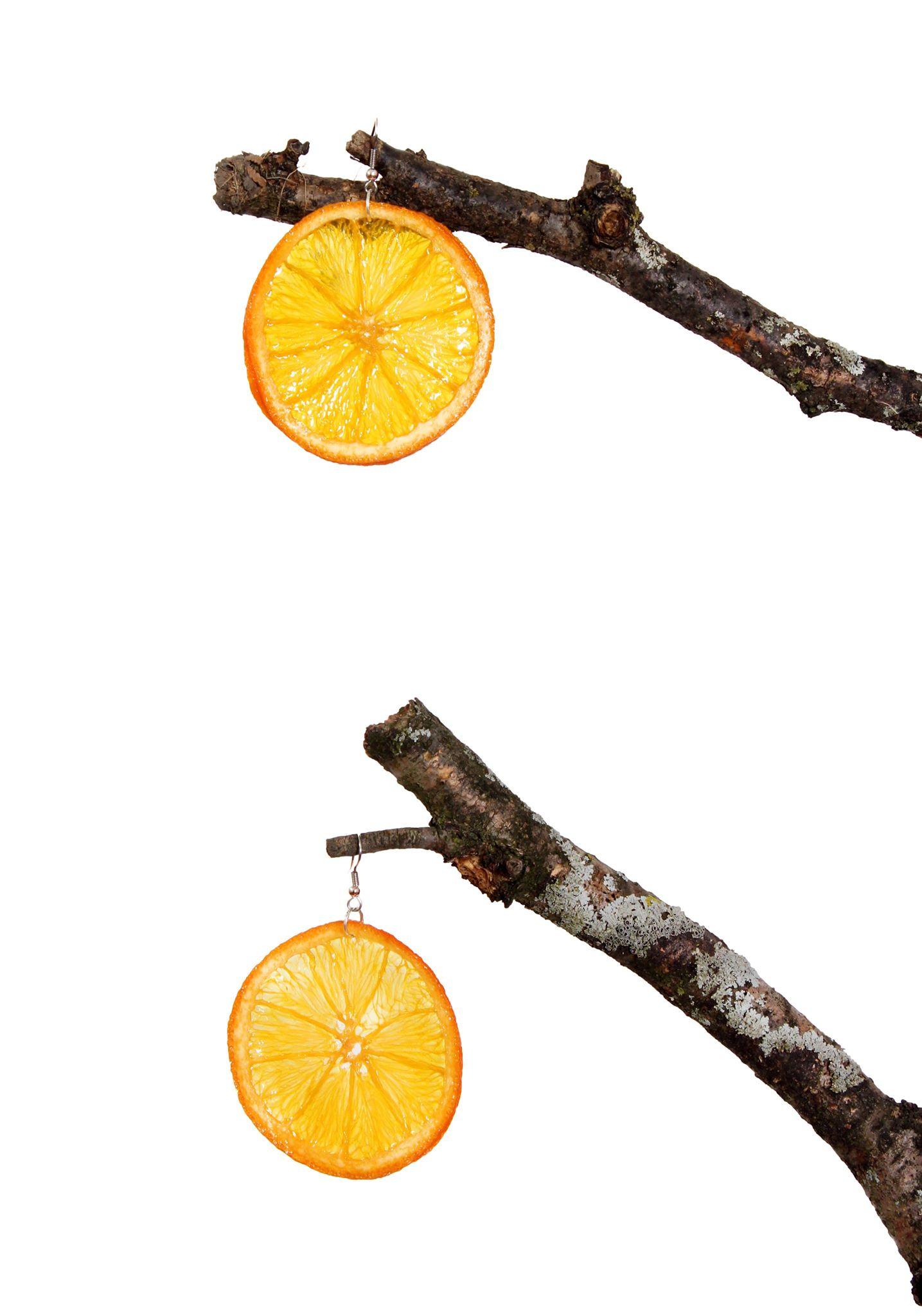 Orange Earrings on Tree