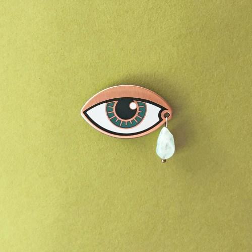 Eye with teardrop Enamel Pin