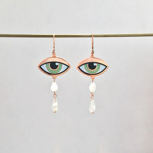 Eye Earrings with Rainbow Moonstone Teardrops